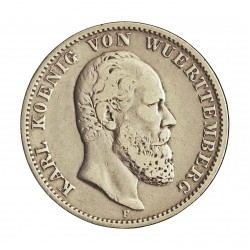 Alemania Estados 2 Marcos. 1877. Wurttemberg-(F). AG. 11,111gr. Ley:0,900. Ø28mm. MBC/MBC+. RARO/A. KM. 626
