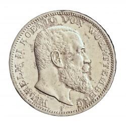 Alemania Estados 3 Marcos. 1912. (F)-Wurttemberg. AG. 16,665gr. Ley:0,900. Ø33mm. SC-/SC. KM. 635