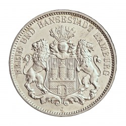 Alemania Estados 3 Marcos. 1913. J-(Hamburgo). HAMBURGO. AG. 16,667gr. Ley:0,900. Ø33mm. SC-/SC. KM. 620