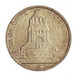 Alemania Estados 3 Marcos. 1913. E-(Muldemhutten). SAXONY-ALBERTINE. AG. 16,66gr. Ley:0,900. (100º Anv.Batalla de Leipzig). Ø33