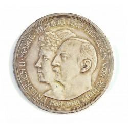 Alemania Estados 3 Marcos. 1914. A-(Berlin). ANHALT-DESSAU. AG. 16,667gr. Ley:0,900. (Federico y Maria). Ø33mm. EBC+/SC-. KM. 3