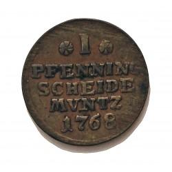 Alemania Estados 1 Pfening. 1768. Brunswick. I.A.P. CU. 3,23gr. Ø20mm. BC+/MBC-. KM. 901.3