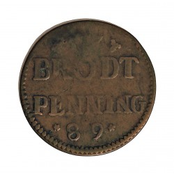 Alemania Estados 1 Pfening. 1789. Colonia. (Brodt Ration). CU. 2,1gr. (Token). Ø22mm. MBC-. KM. Tn.1