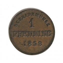 Alemania Estados 1 Pfening. 1858. Bavaria. CU. 1,19gr. Ø17mm. MBC+. KM. 420-(450)