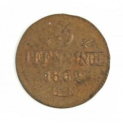 Alemania Estados 3 Pfening. 1862. Rostock. H.K. CU. 2,47gr. Ø20mm. EBC+. KM. 12 a