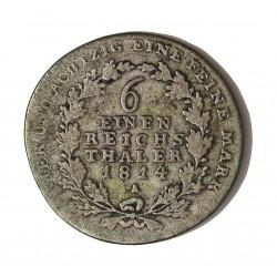 Alemania Estados 0,166 Thaler. 1814. (1/6 de Thaler). Prusia. A. AG. 5,345gr. Ley:0,521. Ø25mm. MBC-. Rayitas anv. KM. 385