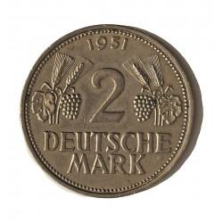 Alemania Federal-(1948/..) 2 Marcos. 1951. F-(Stuttgart). CUNI. 7gr. Ø25mm. MBC/MBC+. MUY ESCASO/A. KM. 111