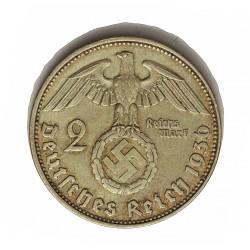 Alemania III Reich-(1933/45) 2 Reichmark. 1936. D-(Munich). AG. 8gr. Ley:0,625. Ø25mm. MBC+. KM. 93