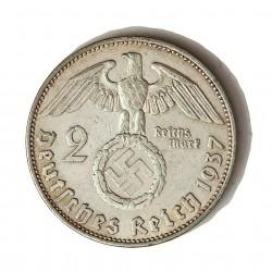 Alemania III Reich-(1933/45) 2 Reichmark. 1937. E-(Muldemhutten). AG. 8gr. Ley:0,625. Ø25mm. MBC+. KM. 93