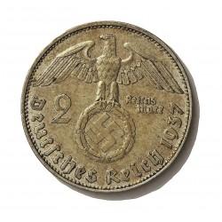 Alemania III Reich-(1933/45) 2 Reichmark. 1937. D-(Munich). AG. 8gr. Ley:0,625. Ø25mm. MBC+. KM. 93