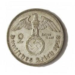 Alemania III Reich-(1933/45) 2 Reichmark. 1938. J-(Hamburgo). AG. 8gr. Ley:0,625. Ø25mm. MBC-/MBC. KM. 93
