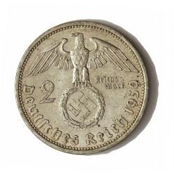 Alemania III Reich-(1933/45) 2 Reichmark. 1939. A-(Berlin). AG. 8gr. Ley:0,625. Ø25mm. MBC+. KM. 93