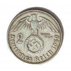 Alemania III Reich-(1933/45) 2 Reichmark. 1939. J-(Hamburgo). AG. 8gr. Ley:0,625. Ø25mm. MBC+. KM. 93