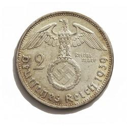 Alemania III Reich-(1933/45) 2 Reichmark. 1939. B-(Viena). AG. 8gr. Ley:0,625. Ø25mm. MBC+. KM. 93