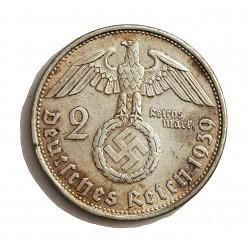 Alemania III Reich-(1933/45) 2 Reichmark. 1939. B-(Viena). AG. 8gr. Ley:0,625. Ø25mm. MBC+/EBC-. KM. 93