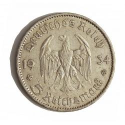 Alemania III Reich-(1933/45) 5 Reichmark. 1934. A-(Berlin). AG. 13,88gr. Ley:0,900. Ø29mm. MBC/MBC+. KM. 82