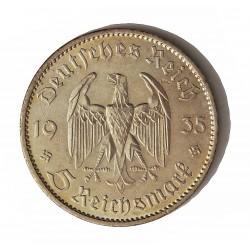 Alemania III Reich-(1933/45) 5 Reichmark. 1935. A-(Berlin). AG. 13,88gr. Ley:0,900. Ø29mm. EBC-/EBC. (Marquita rev.). KM. 83