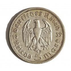Alemania III Reich-(1933/45) 5 Reichmark. 1935. E-(Muldemhutten). AG. 13,88gr. Ley:0,900. Ø29mm. MBC. KM. 86