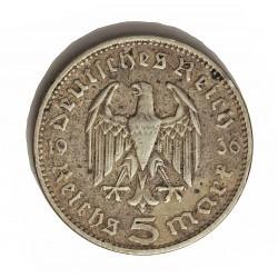 Alemania III Reich-(1933/45) 5 Reichmark. 1936. A-(Berlin). AG. 13,88gr. Ley:0,900. Ø29mm. MBC-. KM. 86