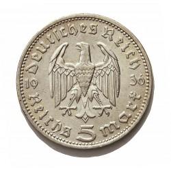 Alemania III Reich-(1933/45) 5 Reichmark. 1936. D-(Munich). AG. 13,88gr. Ley:0,900. Ø29mm. MBC+. KM. 86