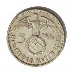 Alemania III Reich-(1933/45) 5 Reichmark. 1936. F-(Stuttgart). AG. 13,88gr. Ley:0,900. Ø29mm. MBC-. KM. 94