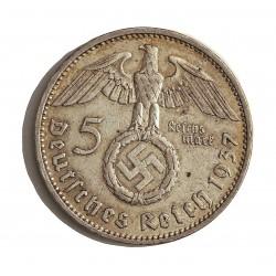 Alemania III Reich-(1933/45) 5 Reichmark. 1937. A-(Berlin). AG. 13,88gr. Ley:0,900. Ø29mm. MBC+. KM. 94