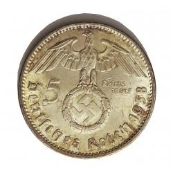 Alemania III Reich-(1933/45) 5 Reichmark. 1938. A-(Berlin). AG. 13,88gr. Ley:0,900. Ø29mm. EBC/EBC+. (Marquitas). KM. 94