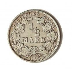 Alemania Imperio-(1871/1918) ½ Marcos. 1905. G-(Kalsrue). AG. 2,8gr. Ø20mm. MBC/MBC+. KM. 17