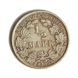 Alemania Imperio-(1871/1918) ½ Marcos. 1905. D-(Munich). AG. 2,77gr. Ley:0,900. Ø20mm. MBC-. KM. 17