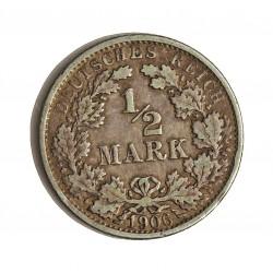Alemania Imperio-(1871/1918) ½ Marcos. 1906. F-(Stuttgart). AG. 2,77gr. Ley:0,900. Ø20mm. MBC. KM. 17