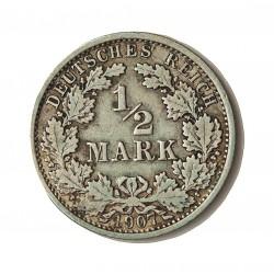 Alemania Imperio-(1871/1918) ½ Marcos. 1907. A-(Berlin). AG. 2,77gr. Ley:0,900. Ø20mm. MBC-/MBC. KM. 17