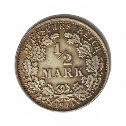 Alemania Imperio-(1871/1918) ½ Marcos. 1914. A-(Berlin). AG. 2,77gr. Ley:0,900. Ø20mm. EBC+. KM. 17