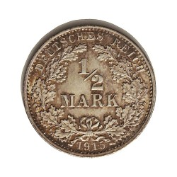 Alemania Imperio-(1871/1918) ½ Marcos. 1915. A-(Berlin). AG. 2,77gr. Ley:0,900. Ø20mm. SC-/SC. KM. 17