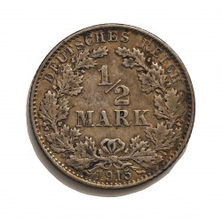 Alemania Imperio-(1871/1918) ½ Marcos. 1915. E-(Muldemhutten). AG. 2,77gr. Ley:0,900. Ø20mm. MBC. KM. 17