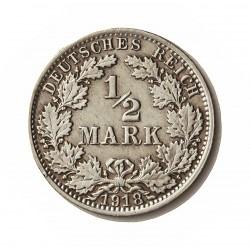 Alemania Imperio-(1871/1918) ½ Marcos. 1918. A-(Berlin). AG. 2,77gr. Ley:0,900. Ø20mm. EBC/EBC+. KM. 17