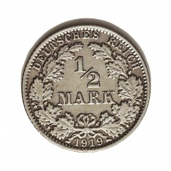 Alemania Imperio-(1871/1918) ½ Marcos. 1919. A-(Berlin). AG. 2,77gr. Ley:0,900. Ø20mm. EBC/EBC+. KM. 17