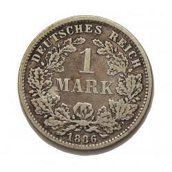 Alemania Imperio-(1871/1918) 1 Marcos. 1876. C-(Frankfurt). AG. 5,55gr. Ley:0,900. Ø24mm. MBC+/MBC. KM. 7