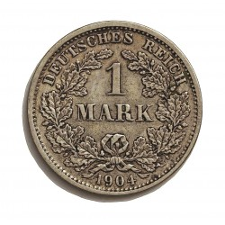 Alemania Imperio-(1871/1918) 1 Marcos. 1904. D-(Munich). AG. 5,55gr. Ley:0,900. Ø24mm. MBC/MBC+. KM. 14