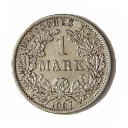 Alemania Imperio-(1871/1918) 1 Marcos. 1907. A-(Berlin). AG. 5,55gr. Ley:0,900. Ø24mm. MBC+. KM. 14