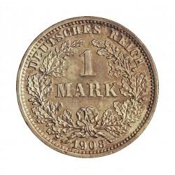 Alemania Imperio-(1871/1918) 1 Marcos. 1908. D-(Munich). AG. 5,55gr. Ley:0,900. Ø24mm. SC. KM. 14