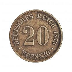 Alemania Imperio-(1871/1918) 20 Pfening. 1873. A-(Berlin). AG. 1,111gr. Ley:0,900. Ø16mm. MBC+/EBC-. KM. 5