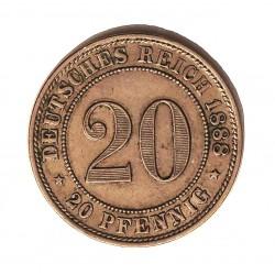 Alemania Imperio-(1871/1918) 20 Pfening. 1888. A-(Berlin). CUNI. 6,2gr. Ø23mm. EBC+/SC-. MUY ESCASO/A. KM. 13
