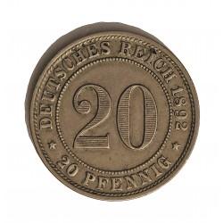 Alemania Imperio-(1871/1918) 20 Pfening. 1892. D-(Munich). CUNI. 6,2gr. Ø23mm. MBC+/EBC-. MUY ESCASO/A. KM. 13