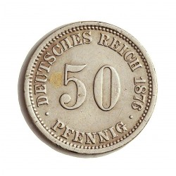 Alemania Imperio-(1871/1918) 50 Pfening. 1876. A-(Berlin). AG. 2,777gr. Ley:0,800. Ø16mm. MBC-/MBC. KM. 6
