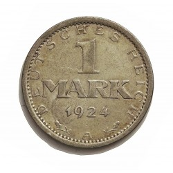 Alemania Weimar-(1919/33) 1 Mark. 1924. A-(Berlin). AG. 5gr. Ley:0,500. Ø23mm. MBC+. KM. 42