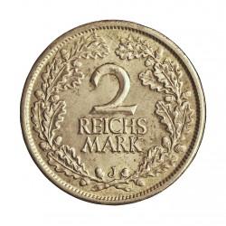 Alemania Weimar-(1919/33) 2 Reichmark. 1925. J-(Hamburgo). AG. 10gr. Ley:0,500. Ø26mm. EBC+/SC-. KM. 45