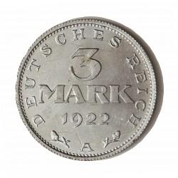 Alemania Weimar-(1919/33) 3 Mark. 1922. A-(Berlin). AL. 2gr. Ø28mm. SC/SC-. (Marquitas por rotura de cuño-Tono original). KM. 2