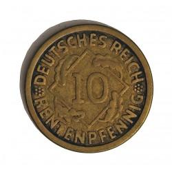 Alemania Weimar-(1919/33) 10 Rentenpfennig. 1924. J-(Hamburgo). AE. 3,98gr. Ø20mm. MBC. KM. 33