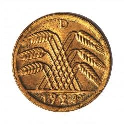 Alemania Weimar-(1919/33) 50 Rentenpfennig. 1924. D-(Munich). LA. 5gr. Ø24mm. EBC+/SC. (Gran parte de su tono original.Pqños.pu