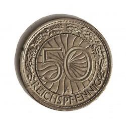 Alemania Weimar-(1919/33) 50 Reichspfennig. 1927. A-(Berlin). NI. 3,5gr. Ø20mm. EBC+/SC-. KM. 49